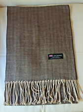 100% Cashmere Scarf BEIGE Herringbone Tweed  Made in Scotland Warm NEW