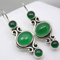 """3 Stone Earrings ! 925 Sterling Silver GREEN ONYX 1.5"""" Battle of the Boyne Sale"""