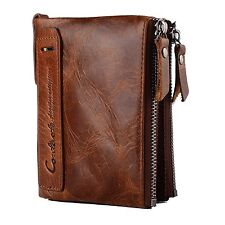 Mens Genuine Leather Wallet, Vintage Cowhide Leather Bifold zipper with Credit