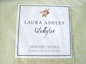 "Valance Laura Ashley Lifestyles GWYNETH Yellow Checked Plaid 87""x16""  NIP  #n"