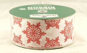 Red Sparkle Snowflakes on White Satin Wide Wired Ribbon 50 yards NEW christmas
