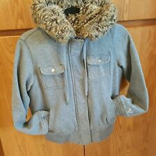 American Eagle Faux Fur Lined Fleece Coat with Fur Lined Hood Size  M