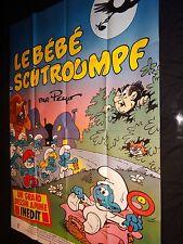 les schtroumpfs LE BEBE SCHTROUMPF ! affiche cinema peyo animation bd rare