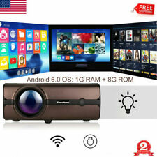 LED Projector Smart Home Theater Android 6.0 1080P HD Video Movie Multimedia New