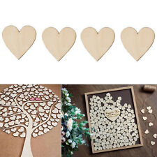 50 PCS 40MM Blank Plain Wooden Love Heart for Weddings Block Art Craft
