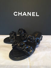 Chanel 18P CC Black Leather Camellia Quilted Sandals Shoes Size 38 1/2 US 8 1/2