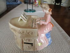 Vintage Josef Originals Girl Playing Piano Figurine - Music Box