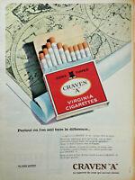 """PUBLICITÉ DE PRESSE 1961 CRAVEN """"A"""" CORK TIPPED VIRGINIA CIGARETTES - CHAT"""