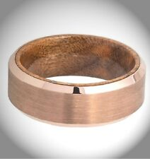 Tungsten Wedding Ring Rose Gold IP Plated Sapele Mahogany Wood sleeve Inner 8mm