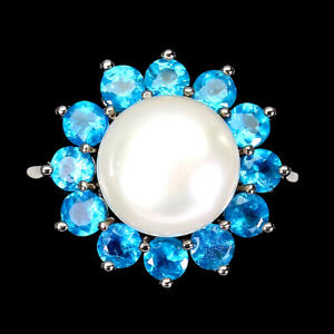 Round Blue Apatite 3mm Pearl 14K White Gold Plate 925 Sterling Silver Ring