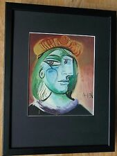 Framed 12''x16'', Woman with a Beret by Picasso, master abstract paintings
