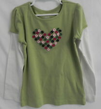 Gymboree Heart in Buttons Girls Tops T-Shirt w/white long sleeves sz6*Valentine