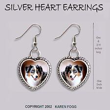 HEART EARRINGS Ornate Tibetan Silver AUSTRALIAN CATTLE DOG Red