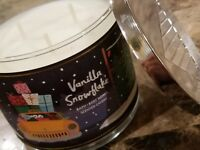Bath And Body Works 3-wick Candle Vanilla Snowflake Scented Mint Coconut 14.5 oz
