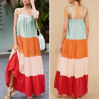 Women Dress Sleeveless Casual Holiday Patchwork Striped Long Maxi Dress Summer