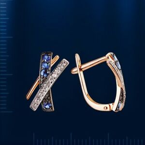 Kleine Ohrringe mit echten Saphiren und Diamanten Russische Rose Rotgold 585 Neu