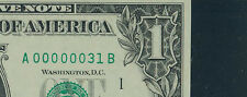 $1 1988 SUPER LOW 2-DIGIT SERIAL NUMBER: A00000031B ~ PMG 64EPQ '31 COLLECTION'
