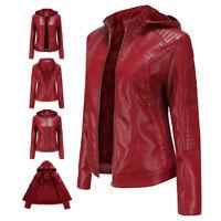 Women Ladies Winter Warm Faux Leather Jacket Slim Fit Biker Hooded Short Coats