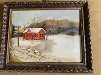 "Small Nevada? ""Home In Winter Scene"" Oil Painting - Signed And Framed"