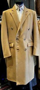 """VINTAGE HEILD BROTHERS FOR HARRODS LONG COAT WOOL HERRINGBONE 38"""" R 1970's"""