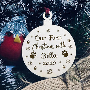 First Christmas With Dog Cat PERSONALISED Tree Decoration Family Gift Keepsake