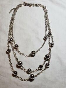 "John Hardy Dot Sterling Silver Bib Necklace 16-18"" Retail $995"