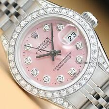 ROLEX LADIES DATEJUST PINK DIAL DIAMOND BEZEL & LUGS 18K GOLD & STEEL WATCH