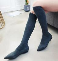 Chic Womens Flats Pointy Toe Knitted Stretchy Knee High Sock Boots Pull On Shoes