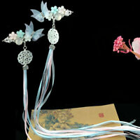 Retro girl women butterfly bead ribbonTassels Hairpin for Kimono Hanfu COSPLAY