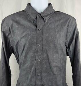 Ralph Lauren Mens L/S Button Down Shirt XL Slim Fit Charcoal Gray Paisley Cotton
