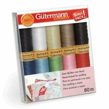 Gutermann Quilting Thread Set -10x 80m Reels Mix Colours- Waxed Patchwork Crafts