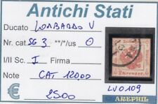 ANTICHI STATI - LOMBARDO VENETO - LV0109 - NR. 3 per giorna USATO - CAT. 120€