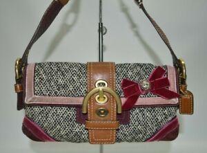 COACH Rare Soho Tweed Suede Leather Rhinestone Purse Handbag 8F01