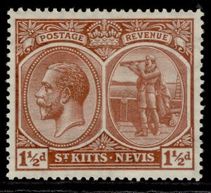 ST KITTS-NEVIS GV SG40a, 1½d red-brown, M MINT.