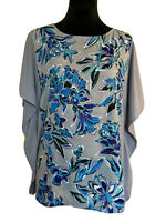 BOB MACKIE SIZE S SMALL NWT Gray Floral Blouse Top Kimono Sleeves