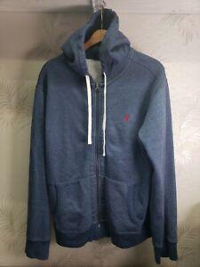 Polo Ralph Lauren Mens sz L Full Zip Hoodie Blue w/ Red Pony EUC Comfy