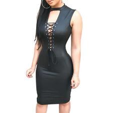 Wetlook Damen Sexy Abendkleid Partykleid Schnürung Gr: M/L