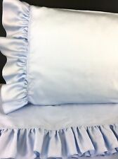 BLUE RUFFLE KING Sheet Set (4pc) 100% Cotton Sateen 300TC New by UtaLace