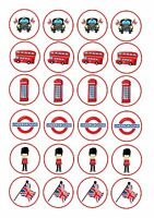 24 Edible cake toppers decorations LONDON THEME ND2 BLACK CAB BUS BRITISH FLAG