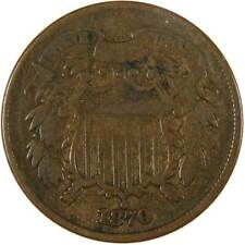 1870 Two Cent Piece VG Very Good Bronze 2c US Type Coin Collectible