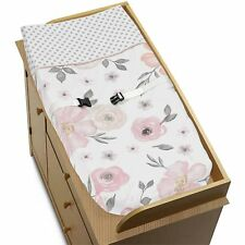 Sweet Jojo Changing Table Pad Cover For Pink Grey Floral Girls Baby Bedding Set