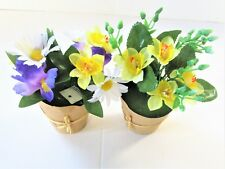 2 Assorted Artificial Spring Potted Flowering Plants In A Brown Paper Wrap -17cm