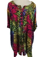 Roamans blouse top size 22W short sleeve rayon animal print green purple red