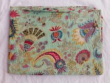 Indian Kantha Work Cotton Quilt Bedspread Throw Ralli Queen Size Floral Bedcover
