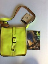NWT Patricia Nash Neon Yellow Distressed Leather Shoulder Purse
