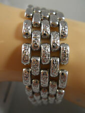 "HEAVY 15G WIDE 14K WHITE GOLD BAR PANTHER DIAMOND CUT CHAIN BRACELET 14KT 7"" BBB"