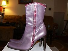 Women's Debut Leather Boots with zip up sides, Purple, US Size 5, Euro Size 36