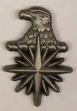 "CIA Eagle Head 3D Compass Star 1"" Tall Antique Silver Hat / Lapel Pin / Tie Tack"