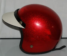 1960's VINTAGE USA RED METAL FLAKE SPARKLE MOTORCYCLE HELMET w VISOR