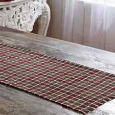 "Rustic Country Burgundy, Olive Green & White 36"" Cotton Burlap Table Runner"